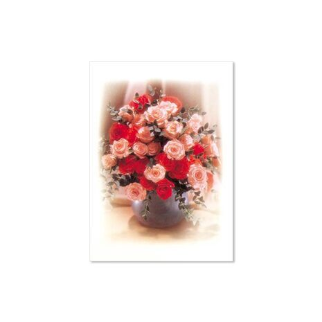 Greeting Card (Red/Peach Flowers in Vase)