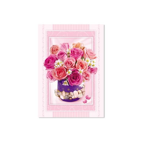 Happy New Year Card (Pink/Peach Flower in a Vase)