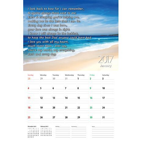 Father - Personalised Sentimental Wall Calendar