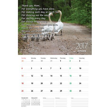 Mother - Personalised Sentimental Wall Calendar
